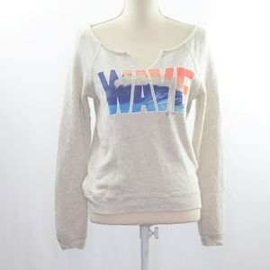 "AEO ""Wave"" Print Pullover Sweater"